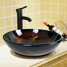 Bathroom Artistic Glass Vessel Vanity Sink W/Oil Rubbed Bronze Faucet Combo New