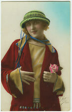 1920s French Deco Lovely Fashion SMILING FLAPPER tinted fashion photo postcard