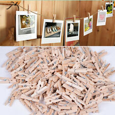 50x25MM Mini Natural Wooden Clothe Photo Paper Peg Clothespin Craft Clips GD UK