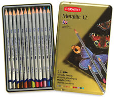 Derwent Metallic Pencils, Metal Tin, 12 Count (0700456)
