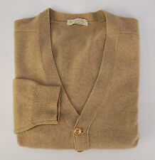 AQUASCUTUM Tan Button-Front Cardigan Knit Pure Scottish Cashmere Sweater S 38