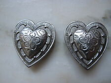 Western Cowgirl Silver Tone Heart Button Cover Equestrian Rodeo Horse Riding