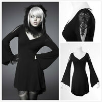 Punk Rave PQ-022 Sexy Gothic Simple Long Ruffle Sleeve Dress Top