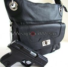 Concealment Purse Black Leather Locking Concealed Carry Holster Gun Bag Purse 40