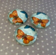 10 pcs Glass Cabochon with Orange Butterfly 16mm