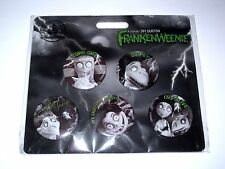 Disney 5 Pin Set✿Frankenweenie Victor Sparky Dog Tim Burton Button Gore Girl