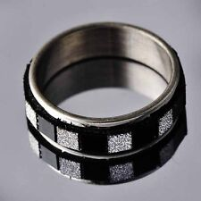Titanium Stainless Steel Black Clear CZ Band Promise Love Band Ring Size 7