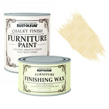 Rust-Oleum Chalky Furniture Paint Chic Shabby 125ml Clotted Cream 0.4L Clear Wax