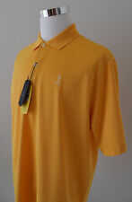 NWT Greg Norman Play Dry ML75 Men's Polo Yellow White Striped S/Sleeve Sz L $69
