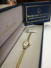 "LADIES ""BULOVA GOLD COLLECTION"" 14K GOLD WRISTWATCH DIAMONDS MOP SAPPHIRE CROWN"