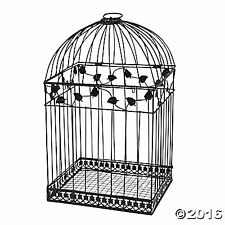 Black BIRDCAGE Money CARD BOX Wedding Reception Party Anniversary Wishing Well