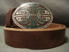 EARLIER 1950'S VINTAGE NAVAJO SINGER FAMILY TURQUOISE SILVER CONCHO BELT