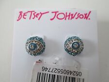 NWT Auth Betsey Johnson Betsey's Delicates Blue Rhinestone Eye Stud Earrings
