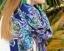 LILLY PULITZER MURFEE SCARF BOXED CASHMERE/SILK NWT BRIGHT NAVY ONE GOT LOOSE