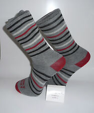 Grey Socks with Red heel & toes with Red and white and Black stripes. Cotton Sox