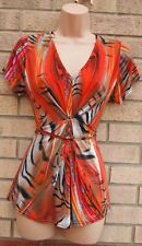 BASSINI ABSTRACT ART MULTI COLORED BELTED LYCRA V NECK BLOUSE T SHIRT TOP 12 M