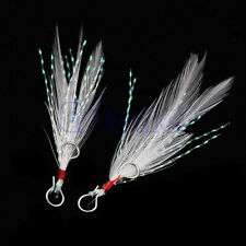 New White 10Pcs Fishing Lures Feather Trolling Bass Hooks Baits DIY Accessory