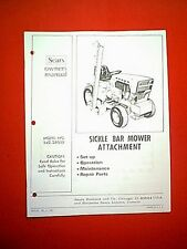 SEARS CRAFTSMAN SICKLE BAR MOWER MODEL # 842.26002 OWNER WITH PARTS MANUAL