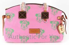 NWT Disney Dooney & Bourke Minnie Mouse Pink Green Faces Canvas Domed Satchel