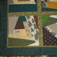Forest Green Lap Quilt Crazy Patchwork Handmade Throw Sampler