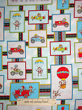 Monkey Race Car Hot Air Balloon Cotton Fabric HG&Co #6347-11 Monkey Around Yard