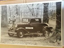 "12 By 18"" Black & White Picture 1932 FORD  DELUXE 3 WINDOW IN THE WOODS"