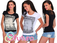 Casual Sequined T-Shirt With Lace Paris Print Party Top Tunic Sizes 8-12 FB219