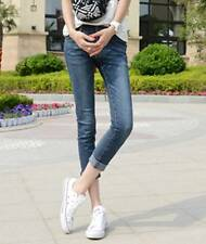 Comfortable Ultra Stretchy Ankle Length Jeans Pencil Pants Low Rise Dark Blue XS
