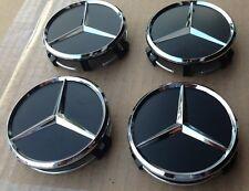 4x Black 75mm Center Hubcap Hub Cap Caps Wheel Cover for Mercedes Benz