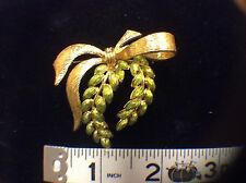 Joan Rivers signed Gold Bow and Lime green Leaves Brooch
