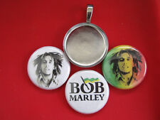 "Bob Marley Handmade changeable Magnetic 15/16 inch Pendant w/Black 18"" Necklace"