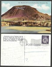 1954 Wyoming Postcard - Monument Hill from Big Horn River