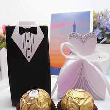 Hot 100pcs Wedding Favor Candy Box Bride+Groom Dress Tuxedo Party w/Ribbon Kit