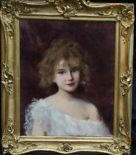 FRENCH IMPRESSIONIST ART FIN DE SIECLE 1900 PORTRAIT GIRL OIL PAINTING STUNNING