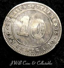 1910 Edward VII Straits Settlements Silver 10 Cents Coin