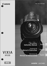 Canon VIXIA HF G10 Camcorder User Instruction Guide  Manual