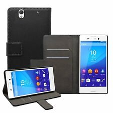 Wallet BLACK Leather Flip Case Cover Pouch Saver For Sony Xperia C4 experia