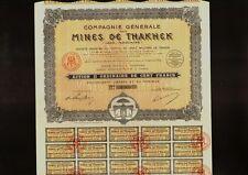 INDOCHINA  MINING Mines de Thakhek Laos Indochine 1928 Elephant Vignette