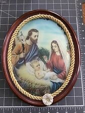 Antique Oval REVERSE PAINTING on Curved Convex GLASS - Mary Jesus & Joseph