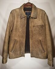 Mens American Eagle Outfitters Distressed Leather Bomber Motorcycle Jacket LARGE