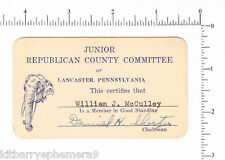 4306 William J. McCulley membership card Daniel H. Shertzer, Lancaster, PA