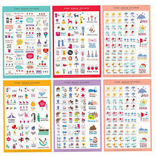 10 Sheets Paper Stickers DIY Photo Album Scrapbook Calendar Diary Planner Crafts