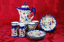 Gorgeous Vintage Nippon Asian Chocolate Tea Pot Set Shakers Geisha Blue Gold