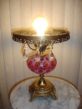 "FENTON CRANBERRY COIN DOT OPALESCENT GLASS LAMP, NO SHADE 10"" FITTING"