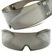 Futuristic Cosplay Costume Comics Sci-Fi Robotic Shield Black Visor Sun Glasses