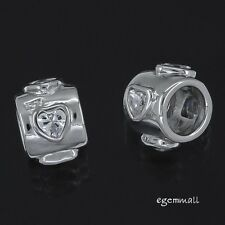 Sterling Silver CZ 4-Hearts Tube Charm Bead 9mm Fit European Bracelet #97397