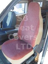 TO FIT A MERCEDES SPRINTER MOTORHOME, 2002, SEAT COVERS, BURGUNDY SUEDE,2 FRONTS