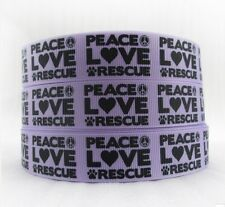 "BTY 7/8"" Purple Peace Love Rescue Pets Grosgrain Ribbon Lisa"