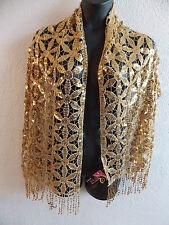 Shawl Wrap Metallic Gold Sequins Floral Cut Out Fringe Formal Long Wide NWT D67