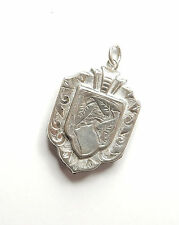 Antique Victorian 925 Sterling Silver Leaf Patterned Photo Locket Pendant 9.4g